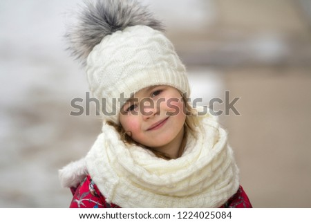 7d725b132 Portrait of cute little young funny pretty smiling blond child girl with  gray eyes in nice