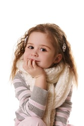 Portrait of cute smiling little girl isolated on white background