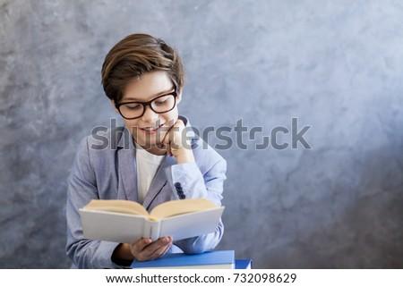 portrait of cute teen boy...