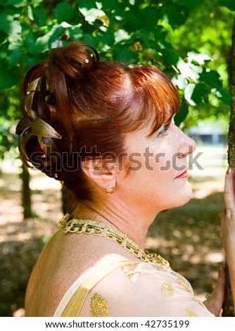 Portrait of cute woman outdoor
