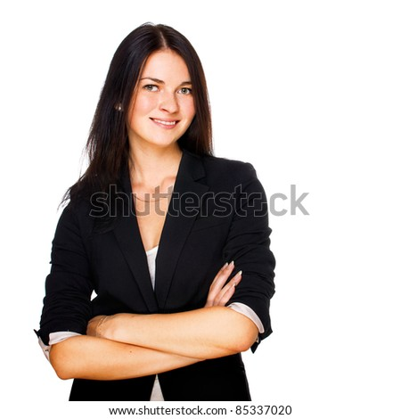 Portrait of cute young business woman smiling. Isolated on white