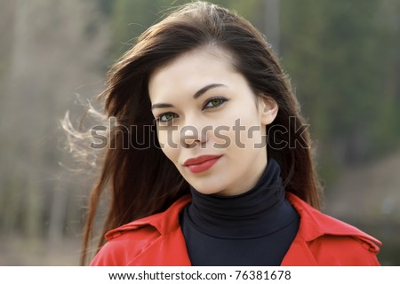 Portrait of cute young woman