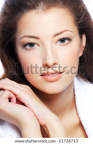 Portrait of cute young woman face