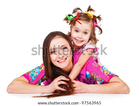Portrait of daughter embracing mom, over white