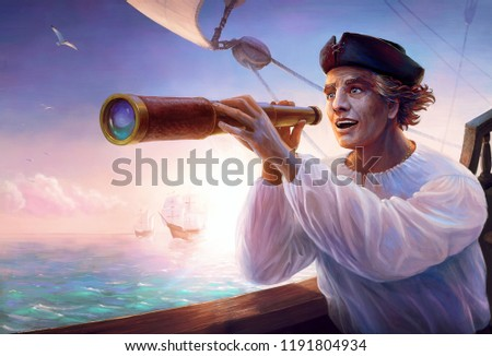 Portrait of discoverer Christopher Columbus. Famous sailor happy looking at a new land which spotted on horizon of Caribbean sea. Discovery of America. Digital painting for celebrating of Columbus Day