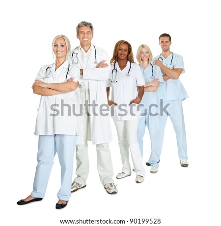Portrait of diverse group of doctors standing isolated on white background