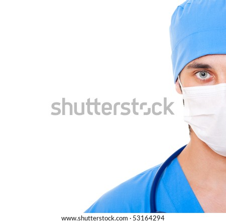 portrait of doctor in mask and blue uniform. isolated on white background