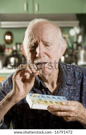Portrait of Elder Man Discussing Medications