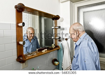 portrait of elder man in the bathroom