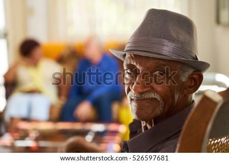 portrait of elderly black man...
