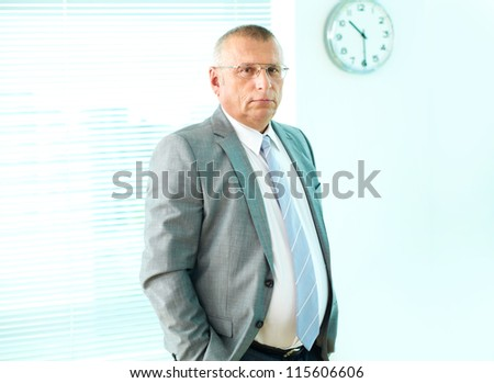 Portrait of elderly businessman looking at camera