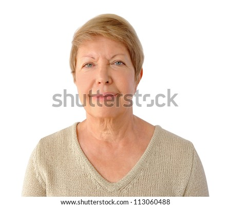 Portrait of elderly woman isolated on the white background