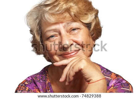 Portrait of elderly woman over white background.