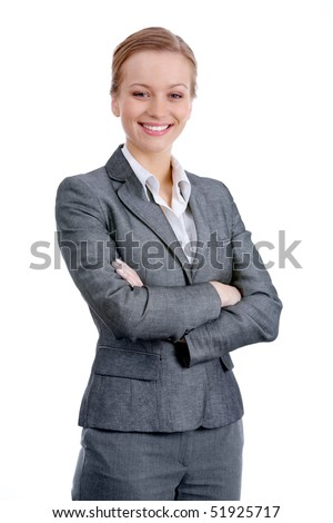Portrait of elegant businesswoman in suit on white background