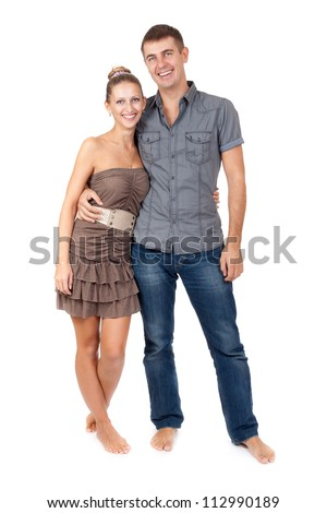 Portrait of embracing happy beautiful couple - isolate  white background