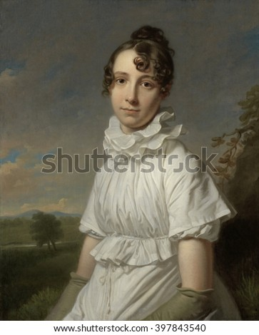 Portrait of Emma Jane Hodges, by Charles Howard Hodges, c. 1810, British painting, oil on canvas. Emma, the artist's daughter, was 20 years old and dressed in a ruffled double collar and elbow-length