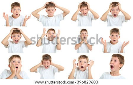 Portrait of emotional little boy on white background, collage #396829600