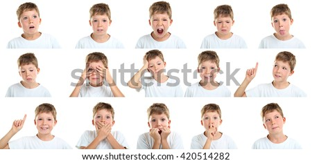 Portrait of emotional little boy on white background, collage