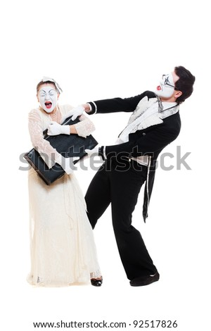 portrait of emotional mimes. isolated on white background