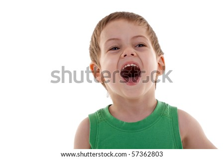 portrait of emotionally kid, close-up, over white