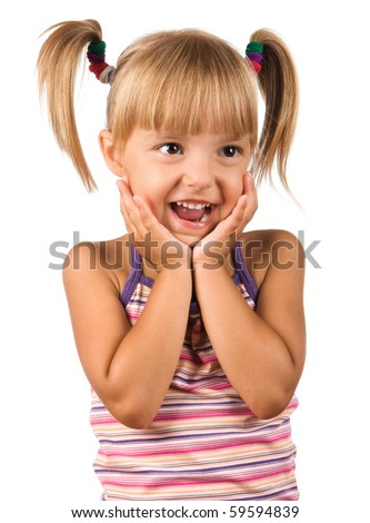 Portrait of emotionally kid. Funny little girl isolated on white background. Beautiful caucasian model.