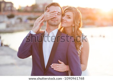 portrait of enamored newlyweds at sunset of the day #1090961768