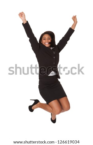 Portrait Of Excited Businesswoman. Isolated on white