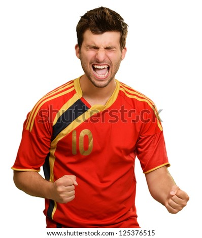 Portrait Of Excited Sportsman Isolated On White Background