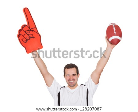Portrait Of Excited Young Man. Isolated On White - stock photo