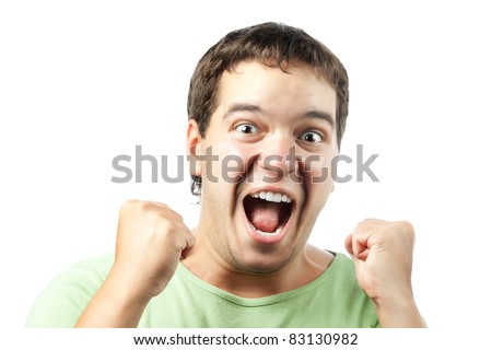 portrait of excited young man shouting from victory isolated on white background