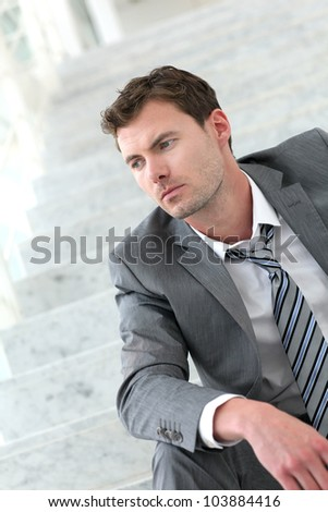 Portrait of exhausted businessman because of job loss
