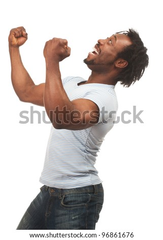 Portrait of expressive african american man celebrating success, isolated on white background
