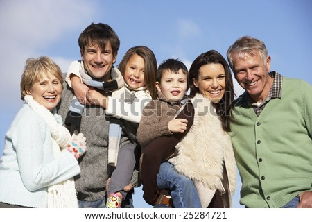 Portrait Of Family In The Park