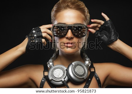 portrait of fashion woman model with glamour glasses