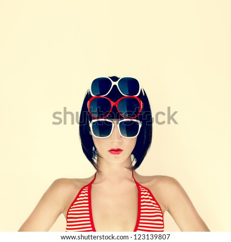 Portrait of Fashionable Woman with Sunglasses