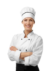 Portrait of female chef isolated on white