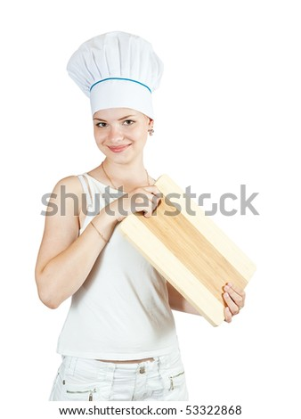 Portrait of female cook in white with  cutting board over white