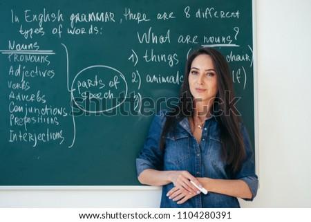 Portrait of female english teacher in front of blackboard.