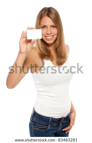 Portrait of female holding credit card over white background