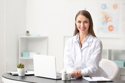 Portrait of female ophthalmologist in clinic