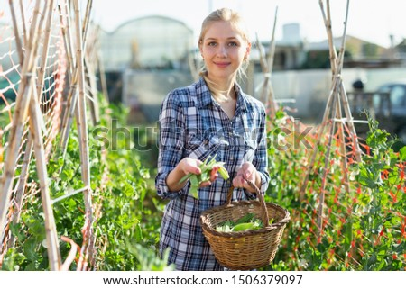 Portrait of female owner of garden holding armful of broad beans