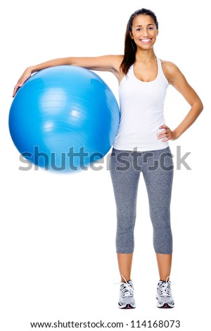 Portrait of fit and healthy gym woman with ball isolated on white background, smiling and happy.