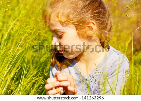 Portrait of five years old caucasian blond child girl seating on a meadow surrounded by green grass and sunset light