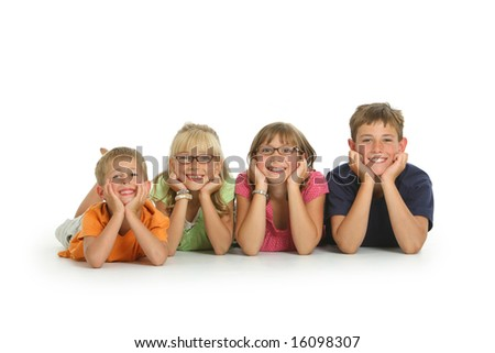 Portrait of four kids on white background