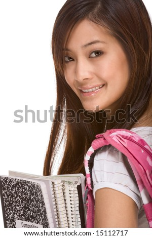 Portrait of friendly Asian High school girl student with backpack, holding notebooks and composition book