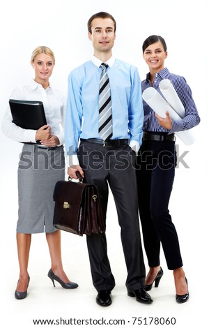 Portrait of friendly business partners standing in isolation