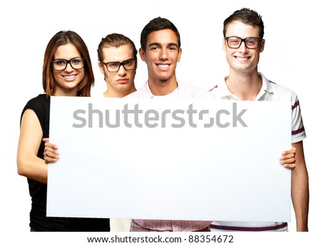 portrait of friends holding banner over white background