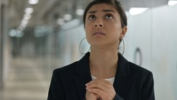 Portrait of Frightened Young Indian Businesswoman Feeling Scared