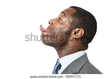 ... of funny black man with suit over white background - stock photo