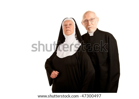Portrait of funny Catholic priest and nun